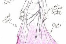 návrhy pro šaty kresl.