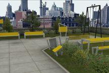 Modern metalen park en straatmeubilair / Moderne metalen lijn park- en straatmeubilair, complementair aan de CombiPlay speeltoestellen. Ontworpen door Thomas Janssen student aan het Sint Lucas in Boxtel.