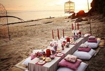 beach wedding party set up