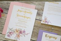 Rose Quartz Watercolor Flower Wedding Invitation