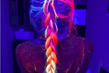 Rainbow hairstyles.