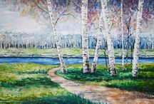 자연&나무 그림 / 자연과 나무의 연필스케치, 색연필그림, 수채화