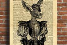 Vintage Newspaper Dictionary Art