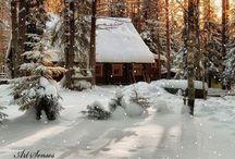 Hytte: hyggelig stemning med snø.