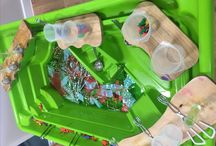 Early years water tray activities. Reception classroom