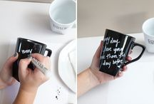 DIY ...Cups / Massages ,with a black and red pen !