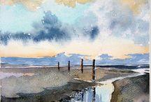 aquarel schilderijen / water en lucht