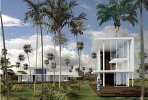 """RM 2005 Playa Grande Resorts & Artists' Colony Dominican Republic 2005 - / RICHARD MEIER 2005 - The Playa Grande Resort and Artist Colony, Dominican Republic.  Meier and other New Yorkers Charlie Rose, Fareed Zakaria, Alex von Furstenberg, Lela Rose, Bronson van Wyck, and Moby see the retreat as a """"creative person's utopia,"""" vowing """"we are going to keep it bohemian, and not filled with dentists who got lucky in the stock market.""""  Unbuilt as of 2011."""