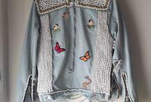 jacheta jeans cu decor margele