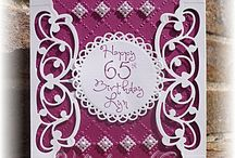 Cranberry birthday card with die cut