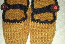 Babuchas tejidas a crochet lana 100 % oveja