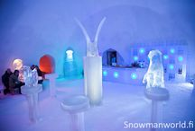 Ice bar and Ice gallery of Snowman World in Rovaniemi Lapland / The Ice bar with Ice gallery of Snowman World in Rovaniemi in  Lapland, Finland is a unique place to have unforgettable drink or other refreshment at the Arctic Circle