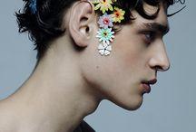 porträtt med blommor