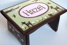 Alphadorable Hand Painted Step Stools / Custom, personalized, hand painted steps stools created by alphadorable