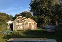 Eiken tuinprieel rieten kap - pannen dak / Alle seizoenen constructie - theehuisje - prieel - wintertuin