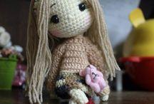bonecas  de tricô  e crochê