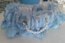 """""""Something Blue"""" garter sets"""
