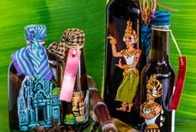 Painted bottles of Sombai / Painted bottles and jars for Sombai Liqueur or Joe's Cuisine made our talented artists
