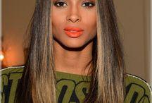 Straight hair red lipstick