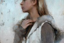 """Winter Profile / """"I like painting people I know,"""" says Joseph Todorovitch.  Maybe that's why his paintings convey such care and sensitivity reminiscent of 19th century naturalist painters.  Edgar Degas and William Bouguereau are among artists that inspire this south westerner.  """"The slightest change in a figure's position can dramatically change how the painting is perceived."""" In many paintings Degas was a master of that calculus, as well as the use of composition to convey psychological information. """"Bouguereau's figures are extremely convincing, with multiple figures in very complex compositions. And the intermingling of flesh tones is amazing,"""" observes Todorovitch.  That is where we begin our collage."""