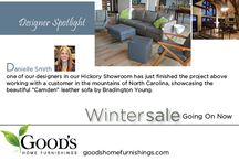 Bradington Young Camden Leather Sofa in The Mountains of North Carolina / Designer Danielle Smith in our Hickory NC showroom has just finished her latest project in the mountains of North Carolina featuring the Camden Leather Sofa by Bradington Young. Visit us today and see our large selection of Bradington Young Leather Sofas, Leather Loveseats and Leather Chairs. http://www.goodshomefurnishings.com/bradingtonyoungfurniture/ / by Good's Home Furnishings