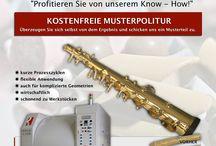 Spezielle Poliertechnik für Blasinstrumente / JETZT NEU: Zentrifugalgleitschleiftechnik als Ersatz für das bis dato extrem aufwendige Polieren von Hand.  Senden Sie uns gerne ein Musterteil für eine unverbindliche Testpolitur zu.  Wir beraten Sie gerne.  Wir beraten Sie gerne.
