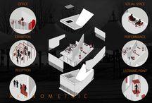 architecture drawing / architecture, drawing, plan, exploded axonometric, section