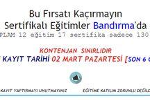 Sertifikalı Eğitimler Bandırma'da / (TOPLAM 12 eğitim 17 sertifika sadece 130 TL) www.10board.org