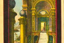 Masonic Art (2 Pillars) / Masonic Artworks (Color Graphics - Two Pillars)