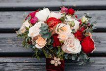 марсала,красные,букеты невесты