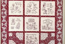 Redwork embroidery and quilting