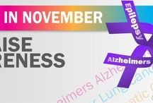 November Awareness / It's November, the month of awareness for Diabetes, Epilepsy, Lung Cancer, Pancreatic Cancer, Alzheimer's Disease, and more. Please join us this month to help get the word out!