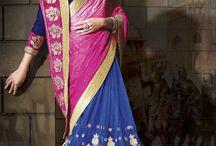 New Wedding Blue And Magenta Net Saree