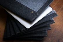 Handmade iPad,Macbook Cases & Linen Bags! / IPAD DARK FELT CASE WITH TWO FELT POCKETS, BROWN LEATHER AND SNAP BUTTON CLOSURE
