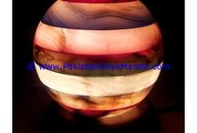 ONYX LAMPS SPHERE BALL GLOBE SHAPED TABLE LAMPS HANDCARVED NATURAL STONE