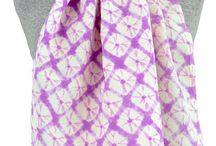 Shibori  / Natural dyes on handwoven textiles featuring Shibori techniques.