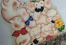 Pintura e Riscos de Porquinhos