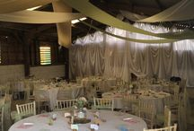 Childs/Brown Wedding 2014 / A barn wedding - wedstival. The bride wanted a soft, floaty fun finish. Not too formal to fit in with their wedding format. We used 3 shades in the ceiling, in silk. and a back drop for the later part of the evening when the band arrives