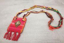 "Boho Jewelry - Boho Κοσμήματα / Χειροποίητα boho κρεμαστά λαιμού από ""κουρελού"", φίνο ύφασμα ταφτά με κεντημένες ημιπολύτιμες πέτρες και ινδικό μεταξωτό σάρι.   Unique bohemian necklaces made of kilim pieces."