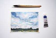 Under the Sky / Watercolor sky paintings, watercolor sky studies