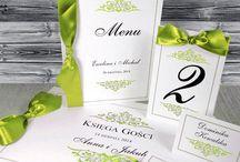 Zaproszenia ślubne zielone / Zaproszenia i dodatki ślubne w kolorystyce zieleni.