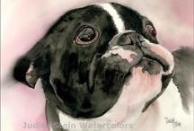 cani acquerello e matite