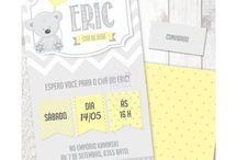 Chá de Bebê Ursinho Cinza e Amarelo / Papelaria Digital para Festas Criativas. Compre no nosso site www.shopfesta.com.br