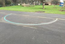 Relining old playground markings / old playground markings can be relined and repeared