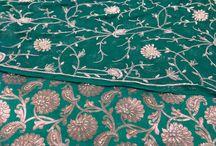 Embroidery work on Gharara / Intricate and beautiful hand work with Zari, dabka, sequence & stone