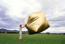 Repurposed tent sculpture
