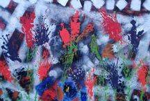 Pictura abstracta, acril pe panza 100x100 Campia florilor