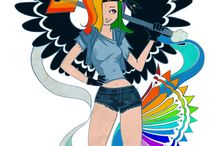 My Little Ponny rock tattoo version Rarity rainbow Dash Flutershy / I'ts my picures and visions of my little ponny girls :) I hope you like it - all apinting on photoshop/Wacom