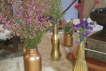 Rustic, gold and origami table decor