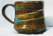 stoneware mug slip decorated,hi fired at 1070